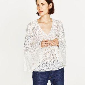 Zara Lace Bell Sleeve Top